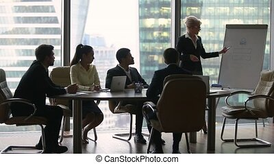 Female presenter giving lecture presentation in modern office