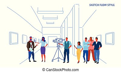 female presenter interviewing with crew reporter taking interview with man mass media announcement concept art gallery museum interior horizontal sketch