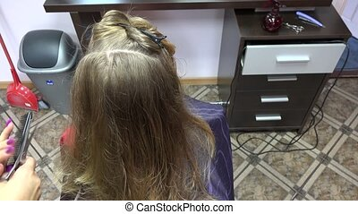 female professional make hairstyle long haired girl in...