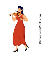 female professions playing fiddle character vector illustration design