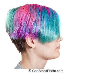 female profile with multi colored dyed hairs on white ...