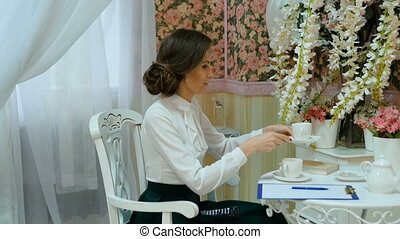 Female psychologist preparing to meet with the patient