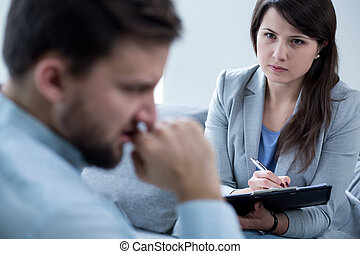 Female psychotherapist at work