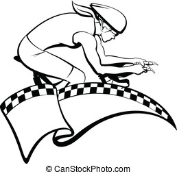 Female Racing Cyclist with Flag - Female cyclist with flag...