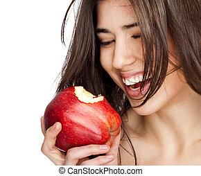 female red bitten apple