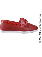 Female red shoes on white background