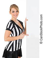 Female Referee With Billboard