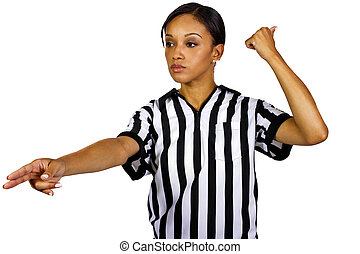 Female Referee - young black female referee wearing a ...