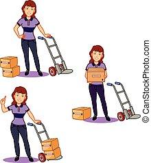 Female Remover Staff - Vector Illustration of Female Worker...