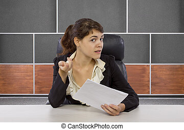 Female Reporter in a Set - young female reporter in a news ...