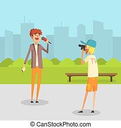 Female Reporter, Journalist Doing Report, Cameraman Operator Filming News in Park Outdoor Vector Illustration