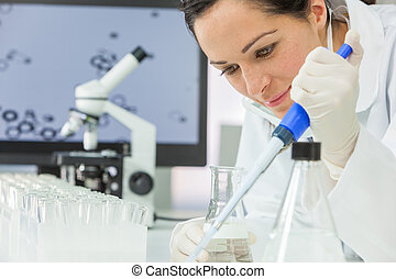 Female Research Scientist With Pipette & Flask In Laboratory
