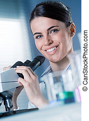 Female researcher smiling