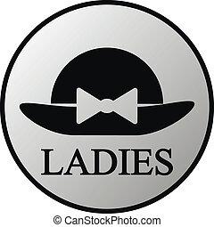 Female restroom symbol button in retro style. Vector...