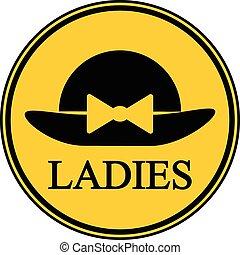 Female restroom symbol button. - Female restroom symbol...