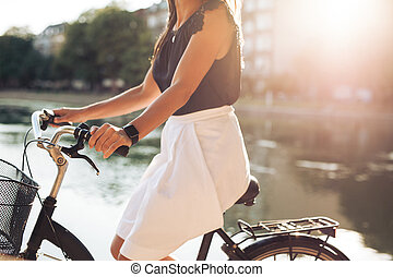 Female riding her bicycle