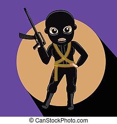 Female Robber with Gun