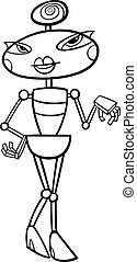female robot cartoon for coloring