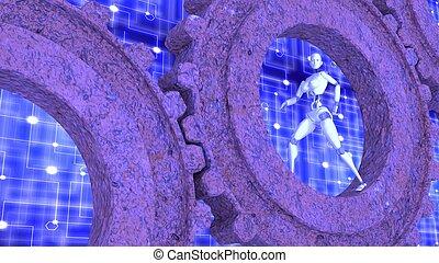 Female robot walks inside rusty gears