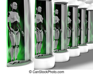 Female robots standing in sleeping chambers. - Several...
