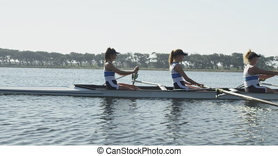 Female rowing team training on a river - Side view of a team...