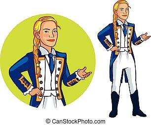 Female Royal Navy Officer Cartoon