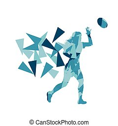 Female rugby player woman abstract vector background made of...