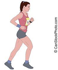 female runner detailed illustration