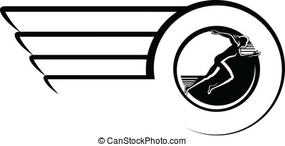 Female Runner in Winged Circle Desi - Black and White vector...