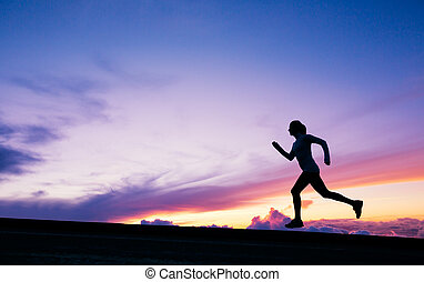 Female runner silhouette, running into sunset - Female ...