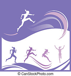 Female runner silhouettes - Vector illustration of female...