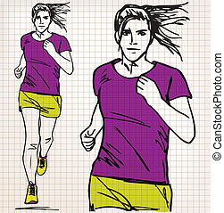 female runner sketch illustration