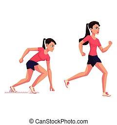 Female runner, sprinter, jogger, ready to start and running