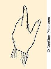 index finger shows gesture upward - female s hand, index...