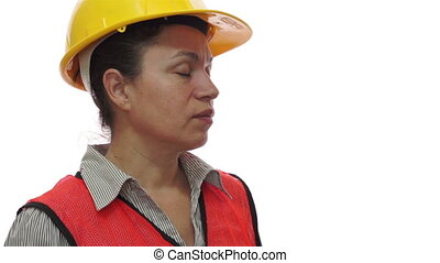 Female Safety Worker Stretching - Female worker in a safety...