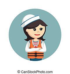 female sailor wearing life jacket in circle background