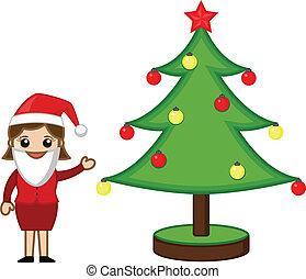 Female Santa Presenting Xmas Tree