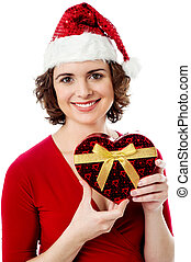 Female santa with Christmas gift