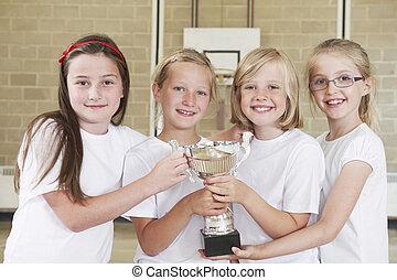 Female School Sports Team In Gym With Trophy