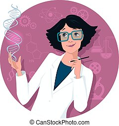 Cartoon woman in a lab coat looking at a DNA molecule, scientific symbols on the circular background, vector illustration, no transparencies