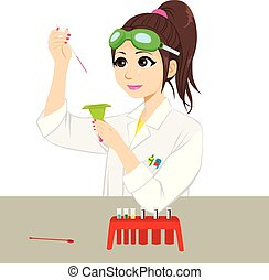 Female Scientist Experiment - Beautiful young female...