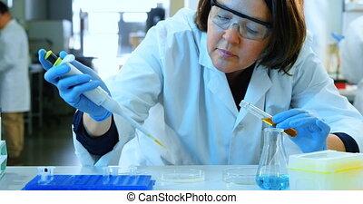 Female scientist experimenting in laboratory 4k - Attentive ...