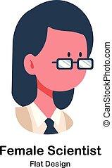 Female Scientist Flat Illustration