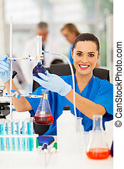 female scientist in a chemistry laboratory