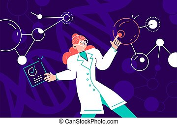 Female scientist in lab coat checking artificial neurons ...