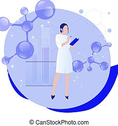 Female scientist in lab coat researching molecular ...