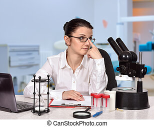 female scientist sitting in laboratory