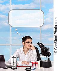 female scientist thinking