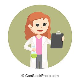 female scientist with test tube and board in circle background