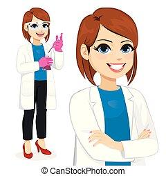Female Scientist Working